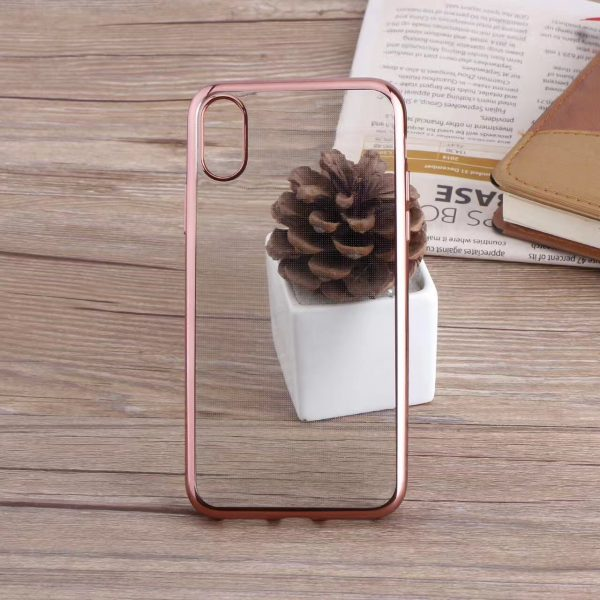 Rose Gold Glossy iPhone Transparent Case - Plated Sides - Sof TPU