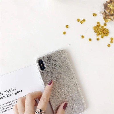 Silver Shiny Leather Textured Fashion iPhone Case - Soft TPU