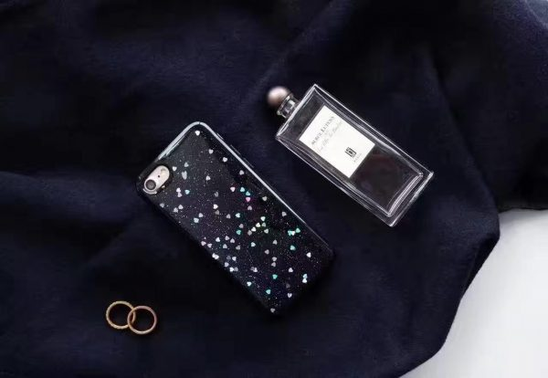 Gloss Finish Black Case for iPhone - Soft TPU - Heart Detailing
