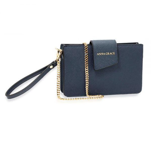 AG00593 - Navy Cross Body Shoulder Bag With Wristlet