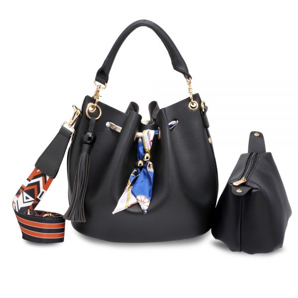 AG00615 - Black Drawstring Bucket Bag With Pouch
