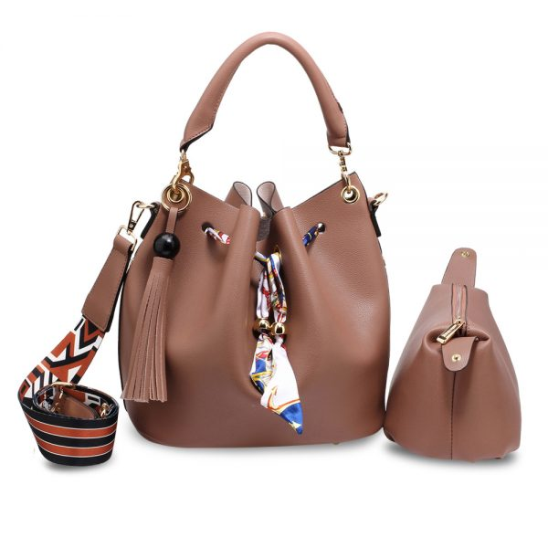 AG00615 - Nude Drawstring Bucket Bag With Pouch