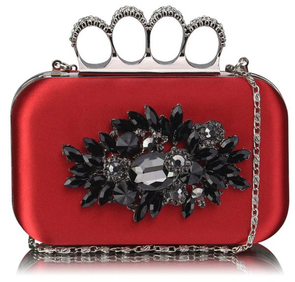 LSE00178- Red Women's Knuckle Rings Evening Bag