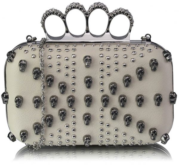 LSE00197- Ivory Women's Knuckle Rings Evening Bag