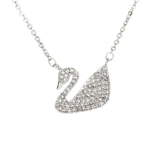 AGN0025 - Sparkling Silver Plated Crystal Swan Necklace