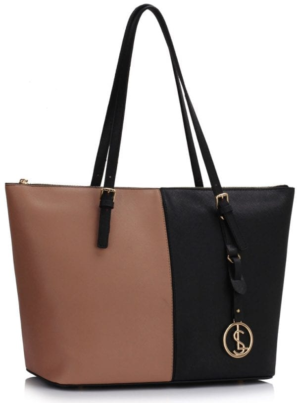 LS00476 - Black/NUDE Women's Large Tote Shoulder Bag