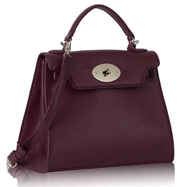 LS0033A - Burgundy Classic Tote Shoulder Handbag