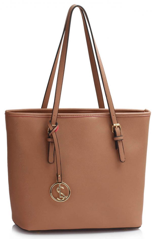 LS00362 - Nude Tote Bag With Metal Accessories