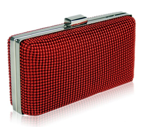 LSE00108 - Red Hard Case Evening Clutch