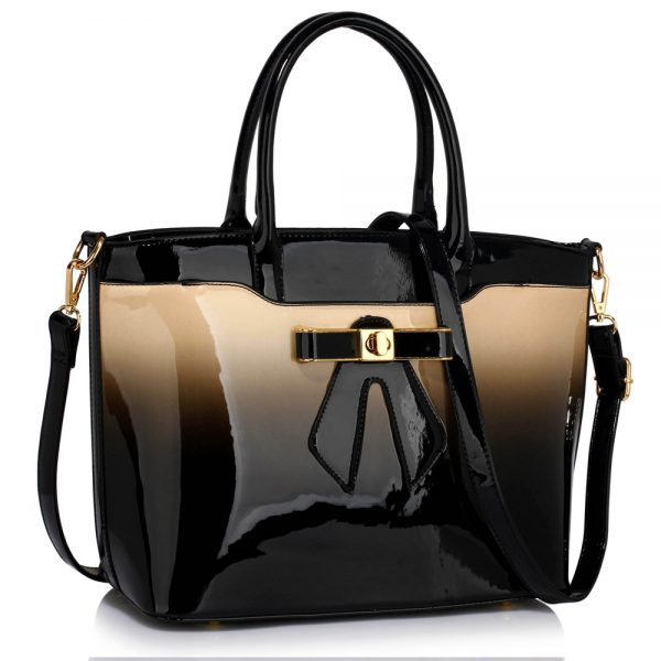LS00132 - Nude Patent Two-Tone Bow Front Handbag