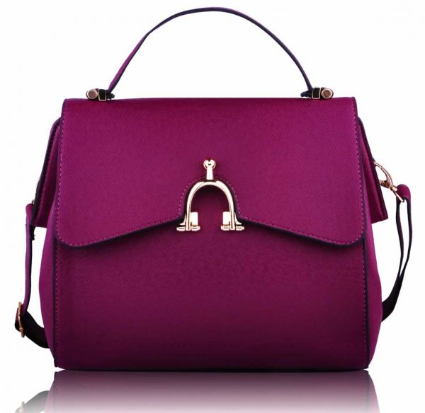 LS00173  - Purple Grab Satchel Handbag