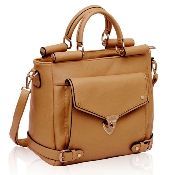 LS00237 - Nude Twist Lock Flap Grab Tote