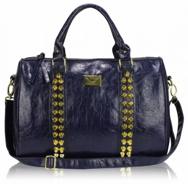 LS00240A -  Navy Stunning Studded Barrel Bag With Long Strap
