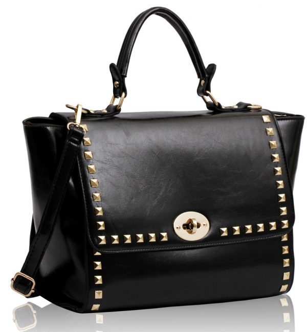 LS00204 - Black Twist Lock Flap Bag