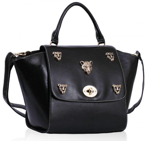 LS00211A - Black Leopard Head Rivets Flap Bag