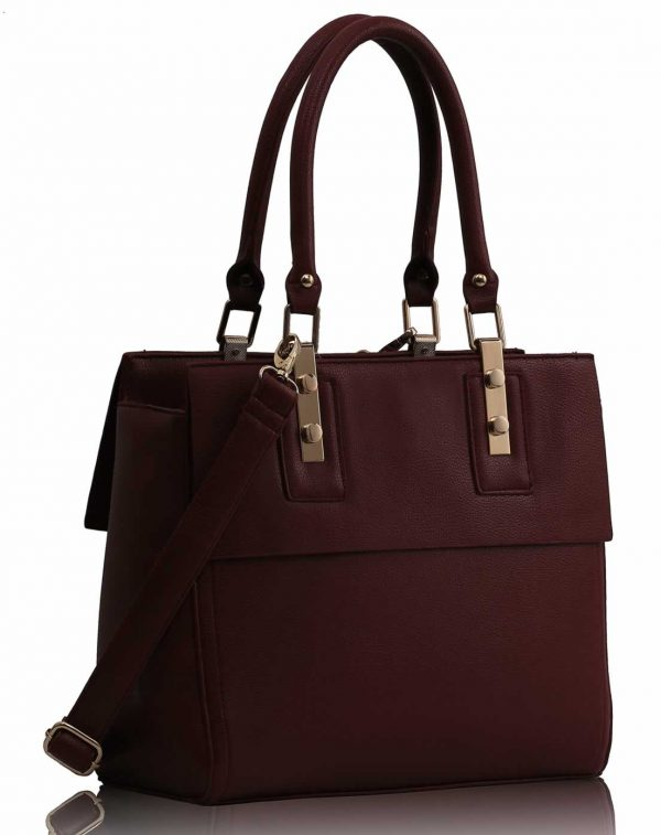 LS0063 - Burgundy Fashion Tote Handbag