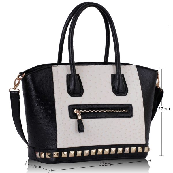 LS0090 - Black / White Ostrich Pattern Studded Tote