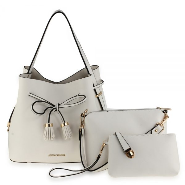 AG00656 - 3 Pieces Set Ivory Women's Fashion Handbags