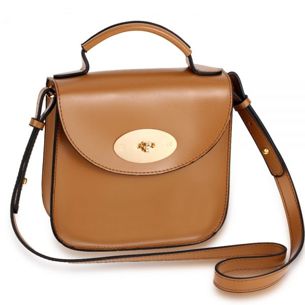 AG00662 - Khaki Flap Twist Lock Cross Body Bag