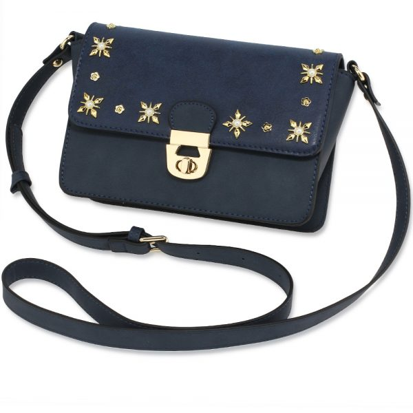 AG00718 - Navy Flap Twist Lock Cross Body Bag