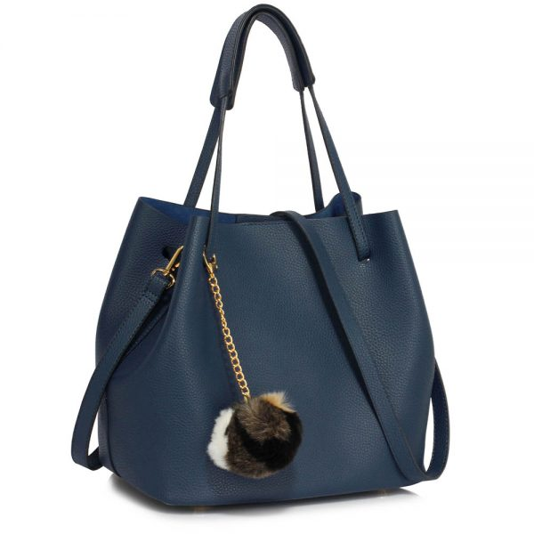 LS00190 - Navy Hobo Bag With Faux-Fur Charm